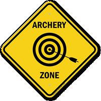Archery Zone Caution Sign