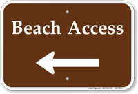 Beach Access Left Arrow Sign