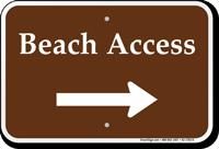Beach Access Right Arrow Sign