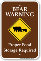 Bear Warming Food Storage Required Sign
