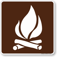 Campfire Symbol Sign For Campsite
