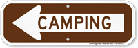 Camping With Left Arrow Sign