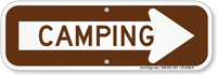 Camping With Right Arrow Sign