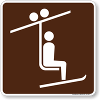 Chairlift Symbol Sign For Campsite