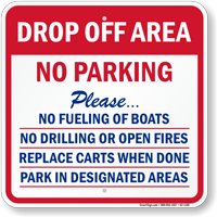 Drop-Off Area, No Parking at Marina Sign