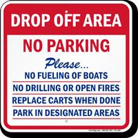 Drop-Off Area, No Parking at Marina Sign