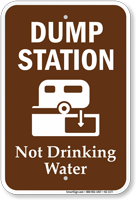 Dump Station, Not Drinking Water Campground Sign