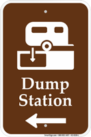 Dump Station With Left Arrow Sign
