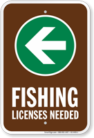 License Needed Left Arrow Fishing Sign