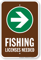 License Needed Right Arrow Fishing Sign