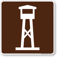 Lookout Tower Symbol Sign For Campsite