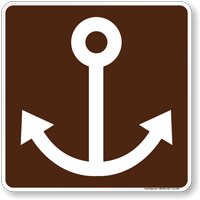 Marine Recreation Area Symbol Sign For Campsite