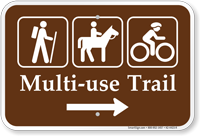 Multi Use Trail Right Arrow Campground Sign