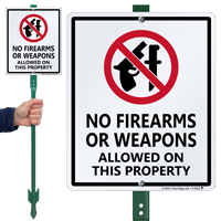 No Firearms Or Weapons Allowed Property Sign