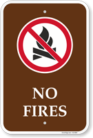 No Fires Campground Prohibition Sign