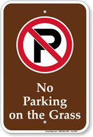No Parking On The Grass Campground Sign