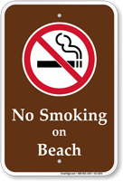 No Smoking On Beach Campground Sign