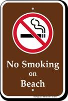 No Smoking On Beach Campground Sign