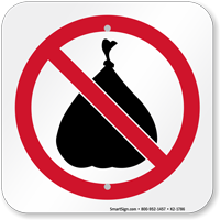 No Trash Prohibition Symbol Sign