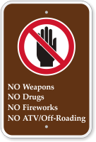 No Weapons, Drugs, Fireworks, ATV Campground Sign