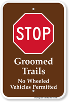 Groomed Trails Stop Campground Sign