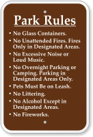 Park Rules No Glass Containers, Unattended Fires Sign