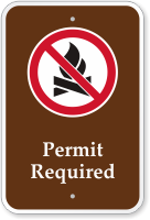 Permit Required No Campfire Symbol Campground Sign