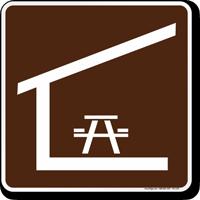Picnic Shelter Symbol Sign For Campsite