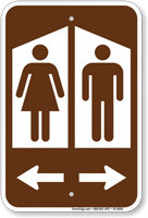 Restroom Sign With Woman Man Graphic And Arrow