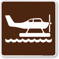 Seaplane Symbol Sign For Campsite
