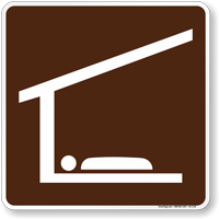 Shelter (Sleeping) Symbol Sign For Campsite