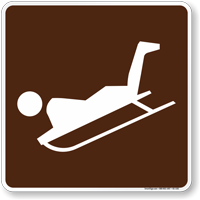 Sledding Symbol Sign For Campsite