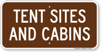 Tent Sites and Cabins Campground Guide Sign
