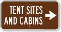 Tent Sites Cabins in Right, Campground Guide Sign