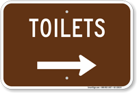 Toilets in Right, Campground Guide Sign