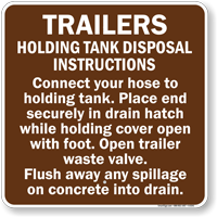 Trailers Holding Tank Disposal Instructions Sign