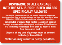 MARPOL Convention (Annex V) Vessel Dumping Law Placard