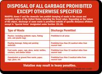 MARPOL Annex-V Vessel Dumping Waste Ocean Law Placard