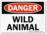 Wild Animal OSHA Danger Sign
