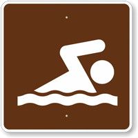 Swimming, MUTCD Guide Sign for Campground