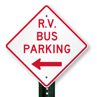 R.V Bus Parking (Left Arrow) Signs