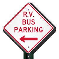 R.V Bus Parking (Left Arrow) Sign