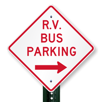 R.V Bus Parking (Right Arrow) Sign