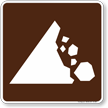 Falling Rocks Symbol Sign For Campsite