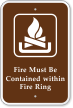 Fire Must Be Contained Within Fire Ring Sign