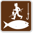 Fishing Symbol With Bait And Fisherman Fishing Sign