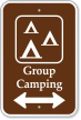 Group Camping Sign with Bidirectional Arrow