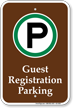 Guest Registration Parking Campground Sign