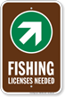 License Needed Up Arrow Pointing Right Sign