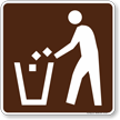 Litter Container Symbol Sign For Campsite